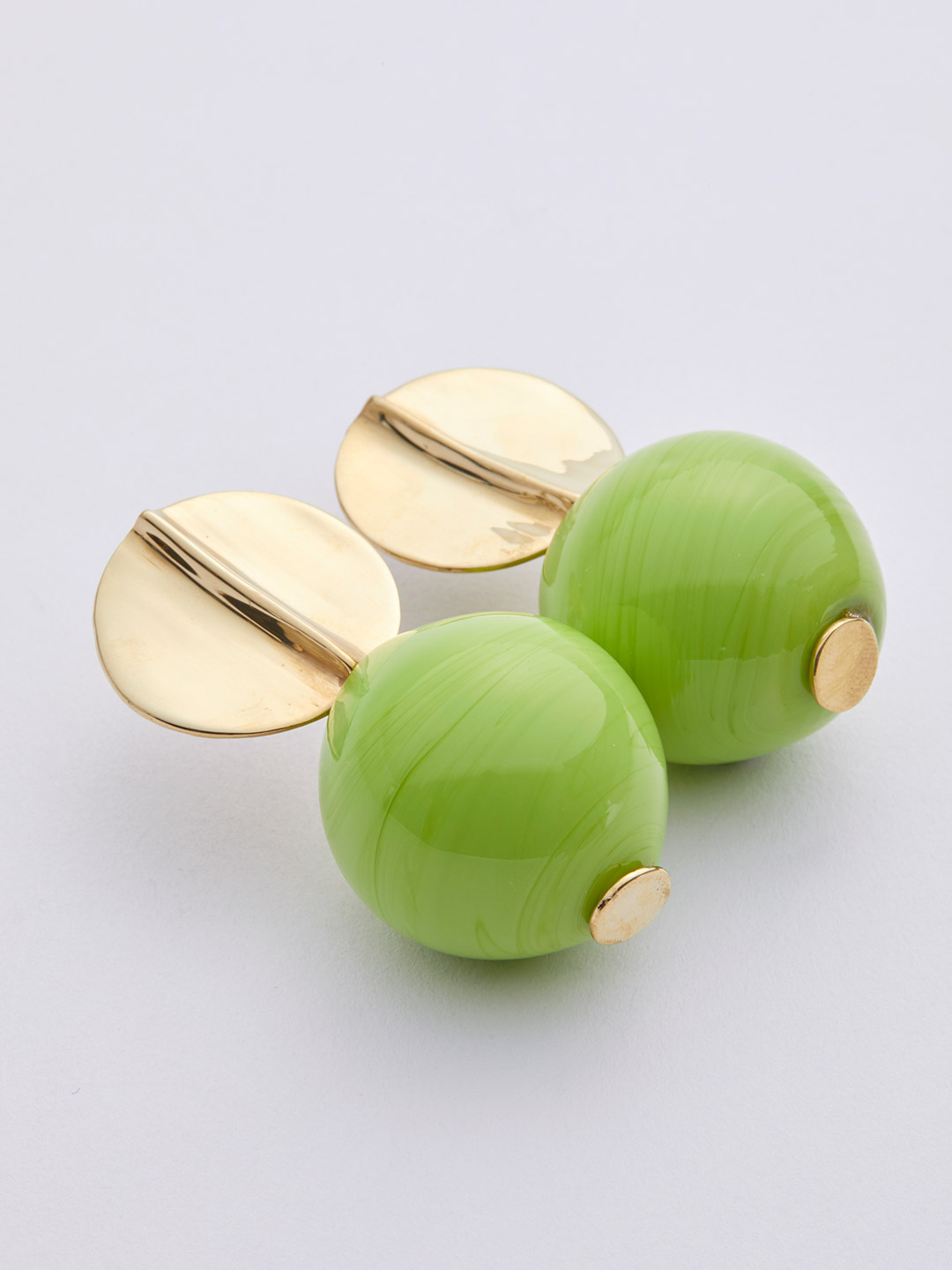 Opaque Globe Pierced Earring - Acid Green