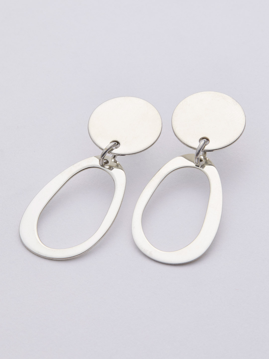 Mini Oval Pierced Earring - Silver