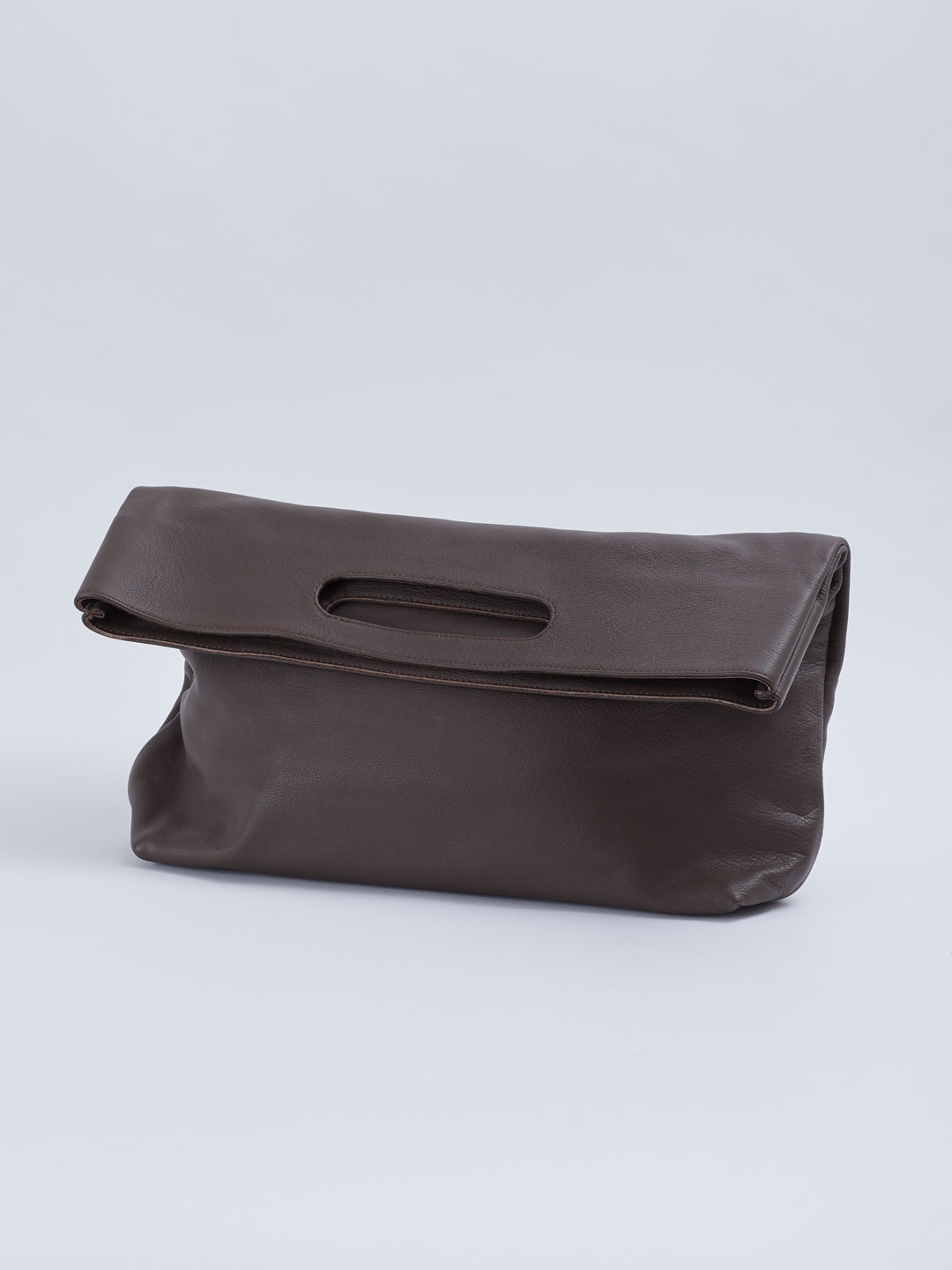 Slouch Foldover Bag - Dark Brown