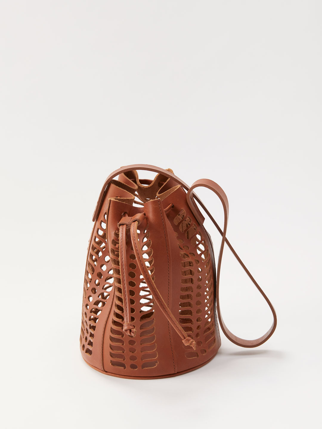 Mini Jute Die Cut Bucket Bag - Brown