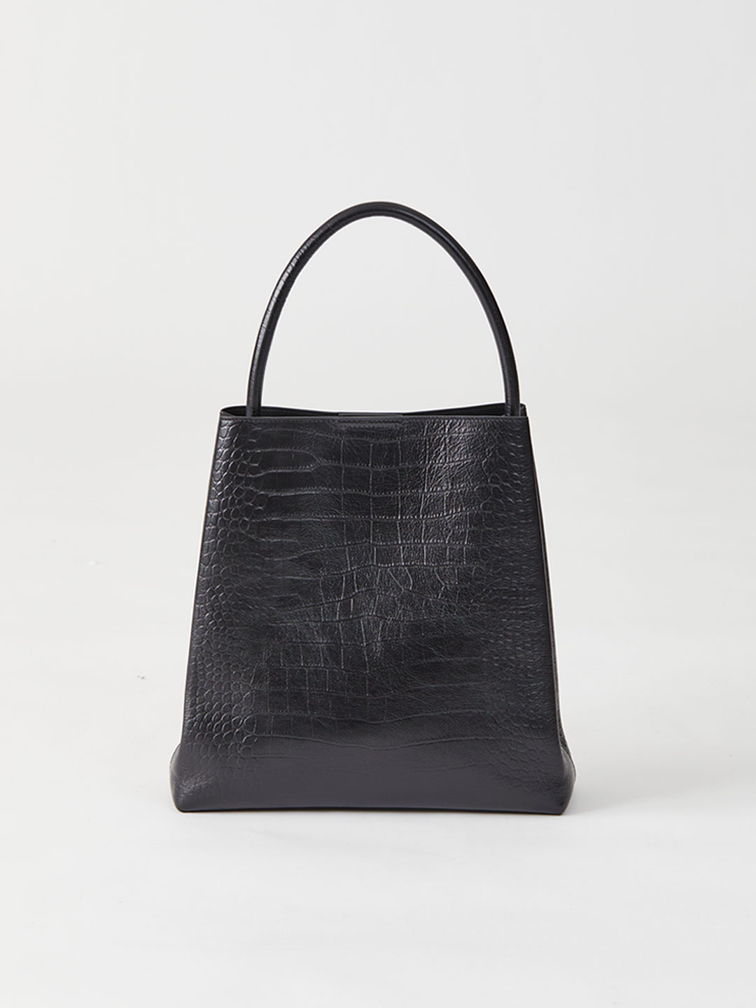 Arch Handle Pleat Tote Bag - Black