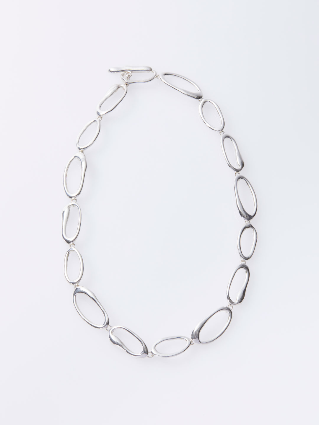 Hand Formed Mini Oval Chain Necklace - Silver
