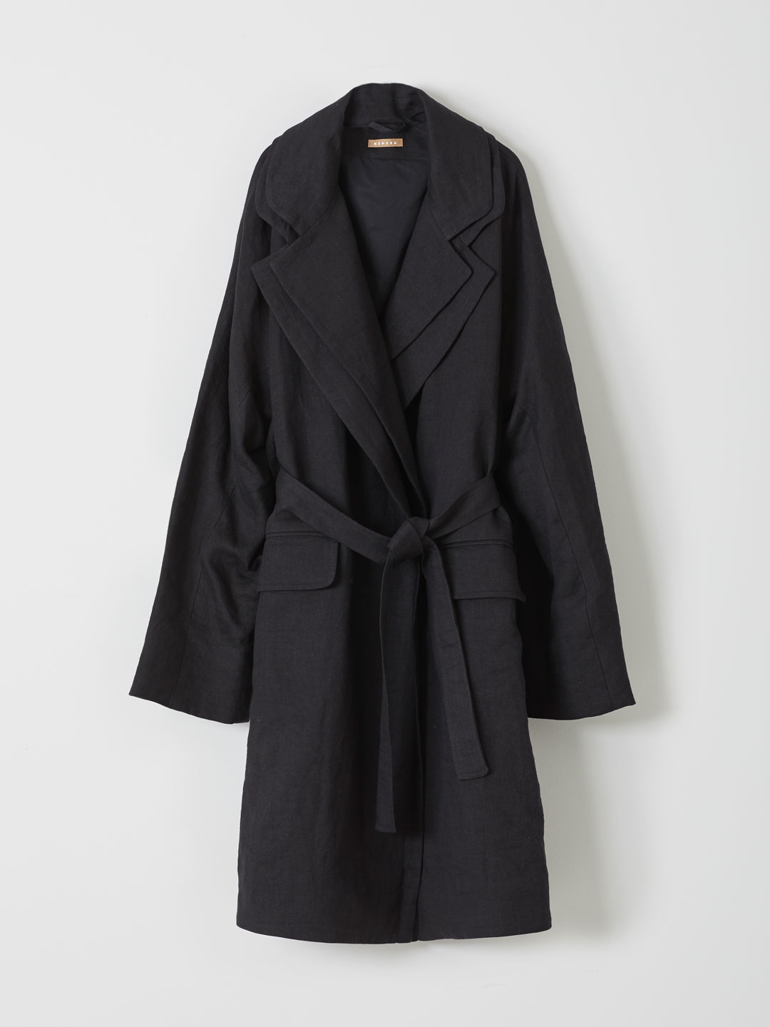 Linen Wool Blend Coat - Black