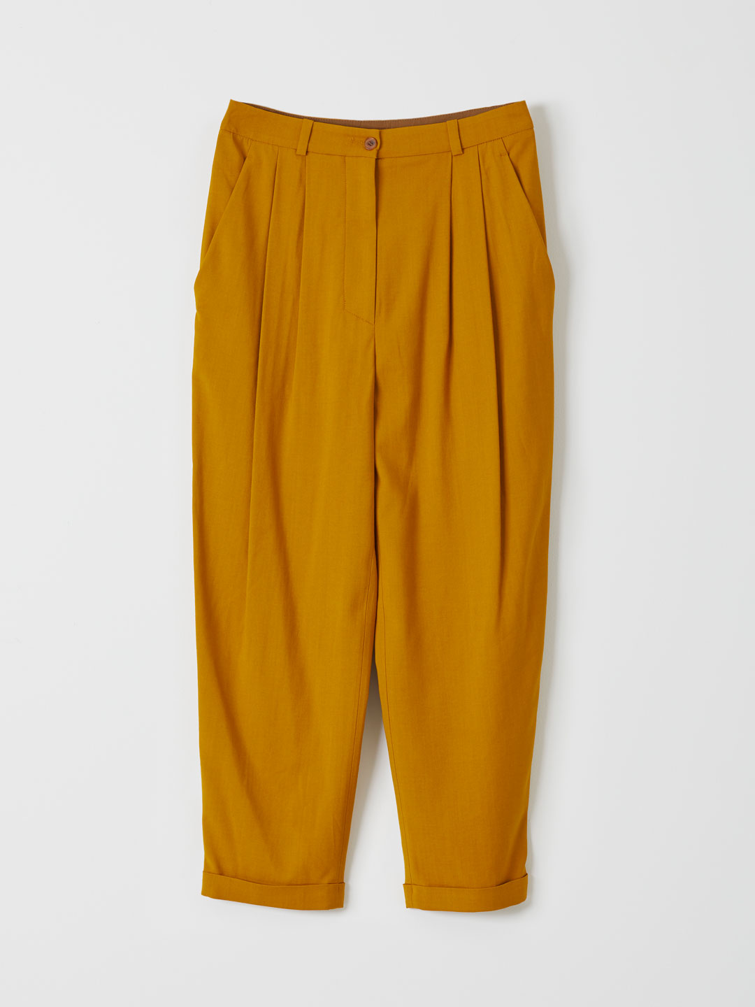 Viscose Wool Tucked Pants - Yellow