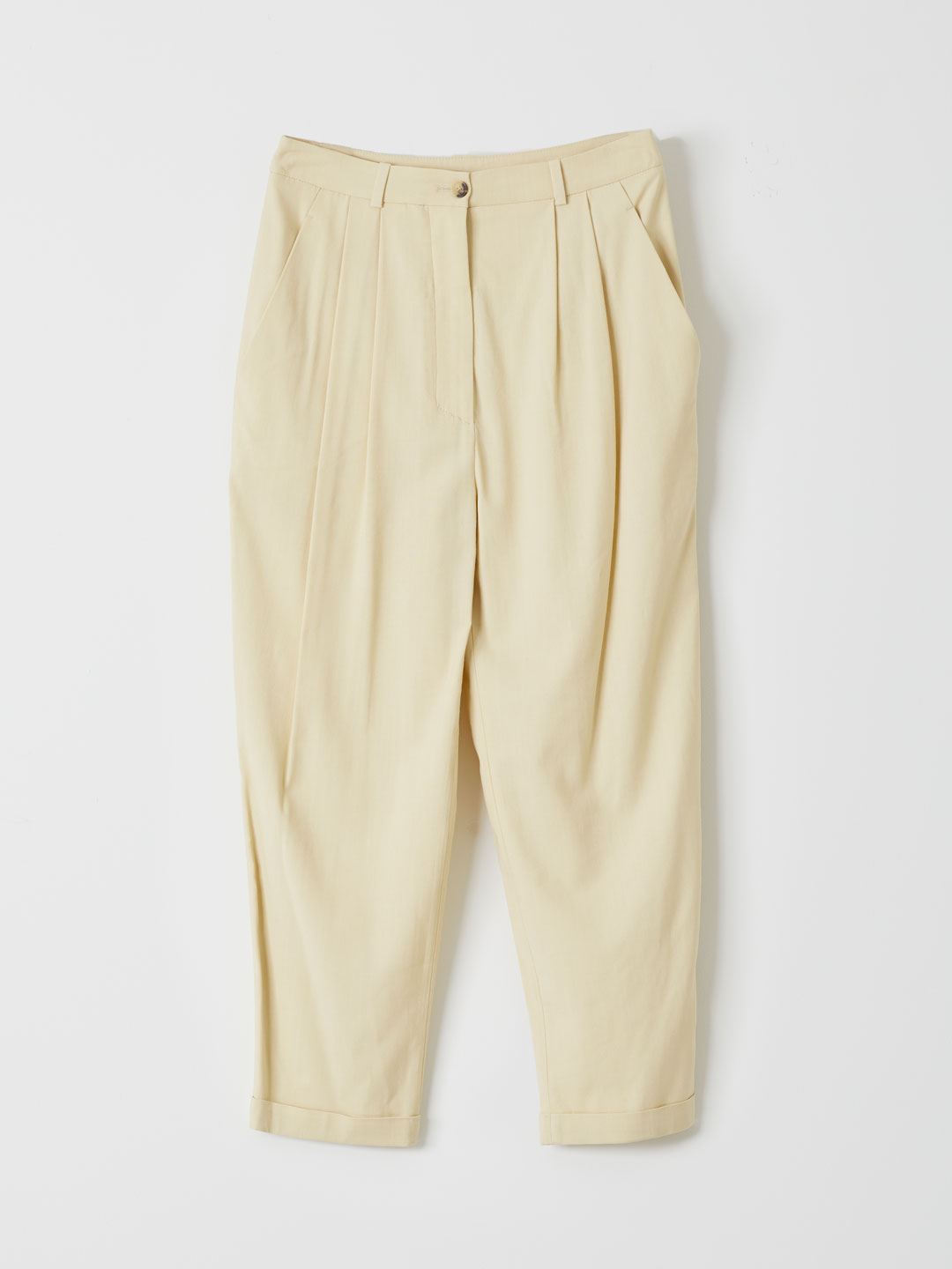 Viscose Wool Tucked Pants - Beige