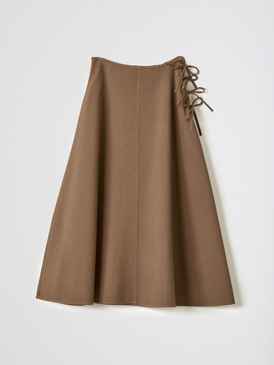 No 0172 Dry Wool Rever Knot Skirt - Brown