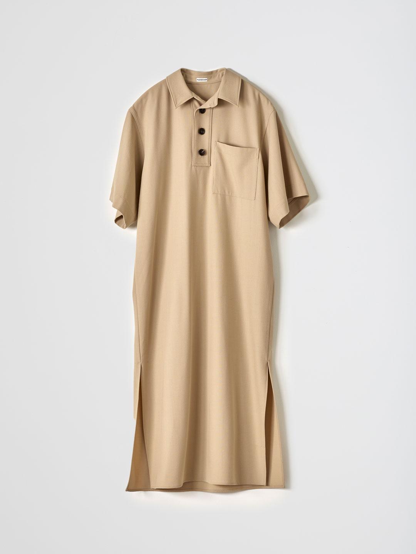 No 0174 Wool Long Polo Dress - Beige