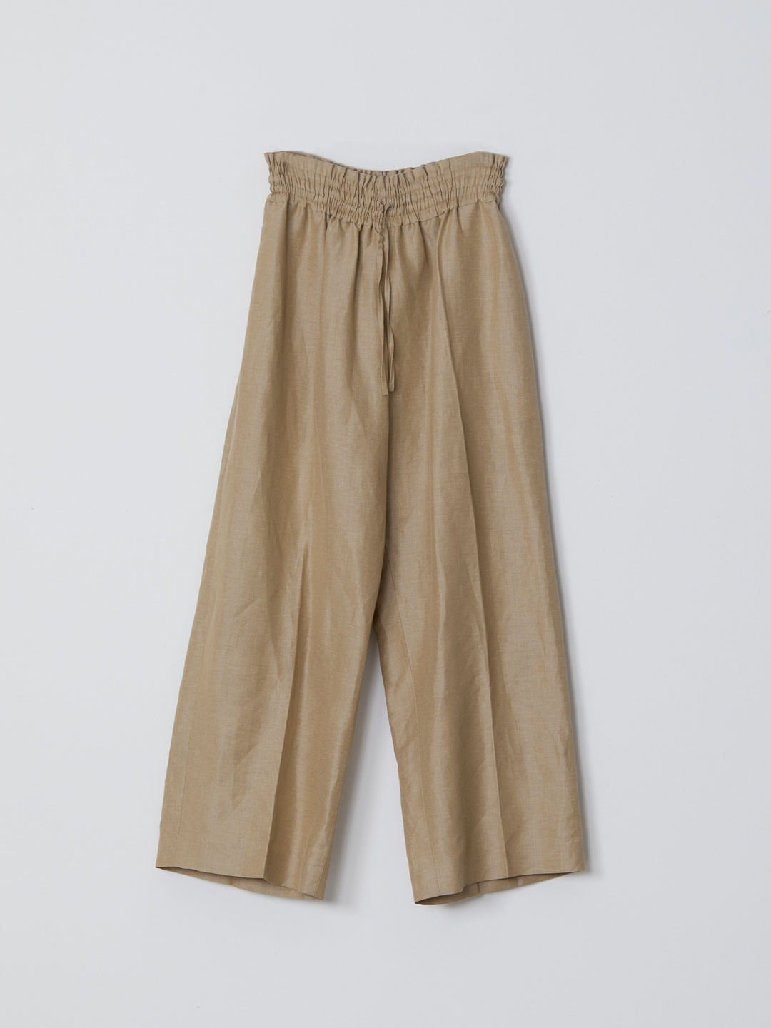 No 0222 Linen Silk Wide Trousers - Beige