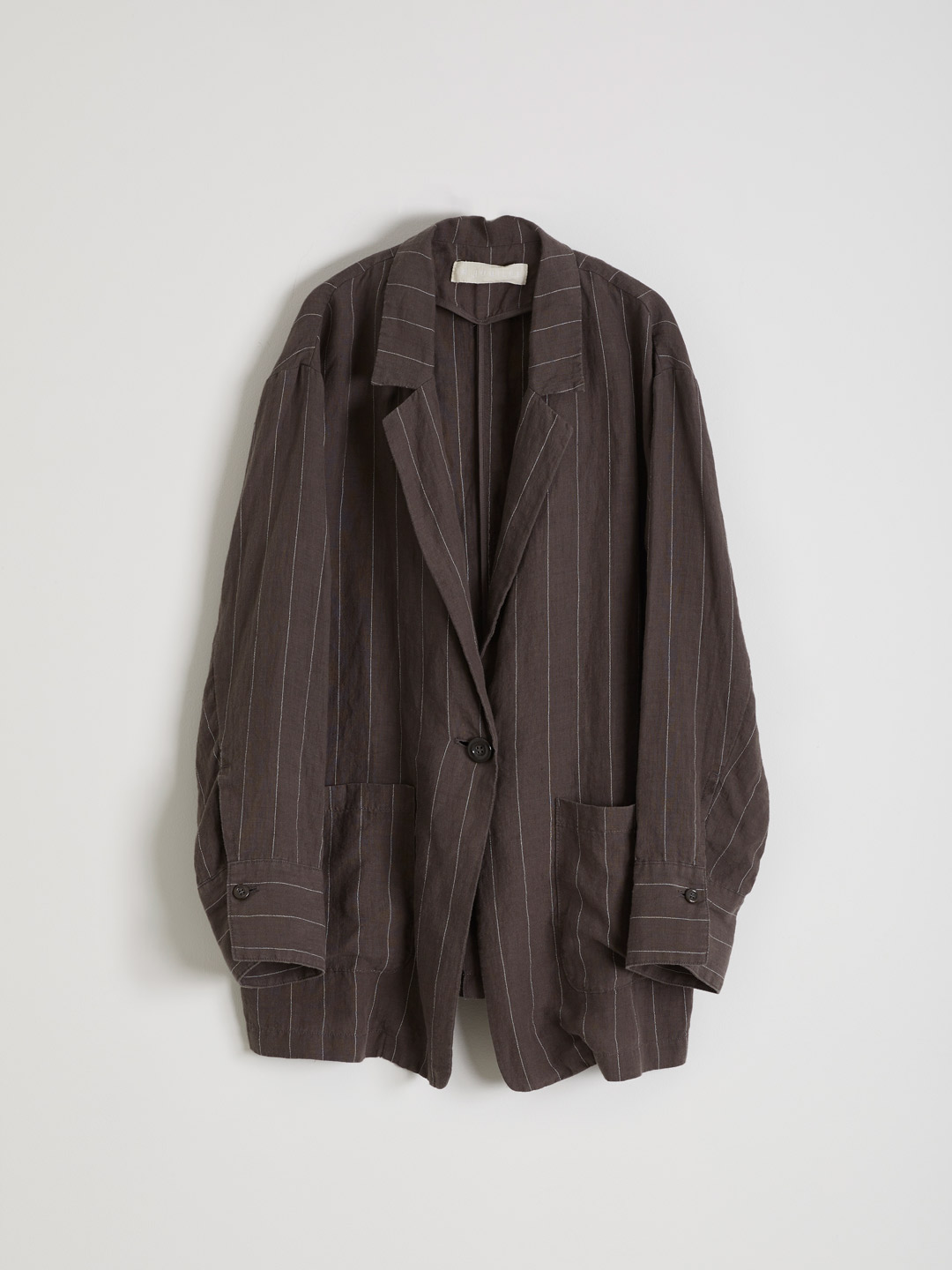 Linen Stripe Jacket  - Charcoal Grey
