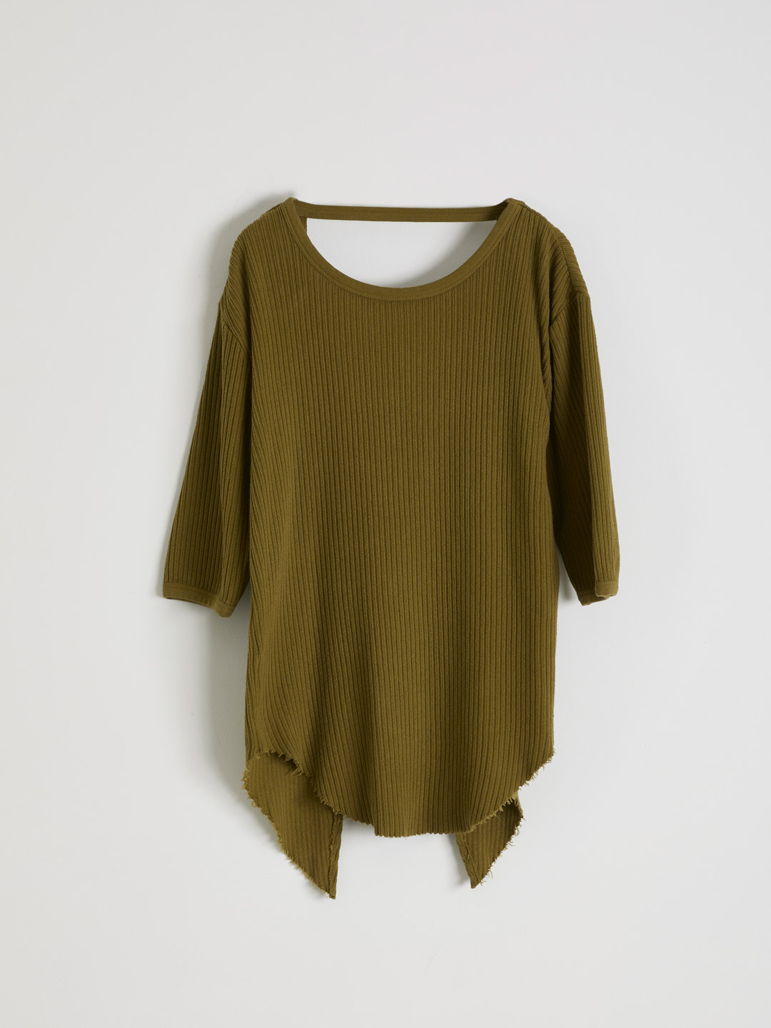 Rib Back Open Hafl Sleeve Tee  - Khaki