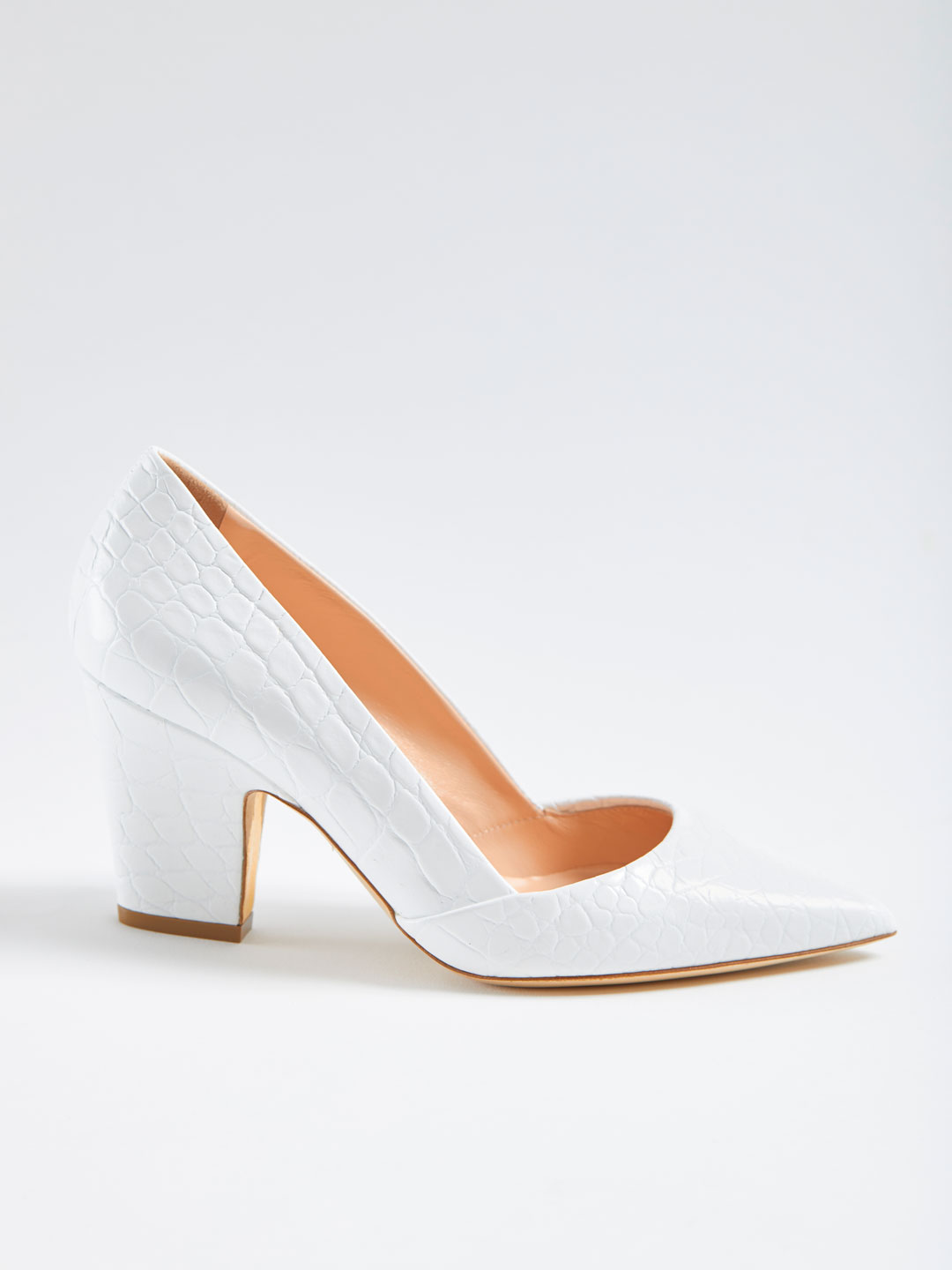 Maggie Printed Croco Heel Pumps - White
