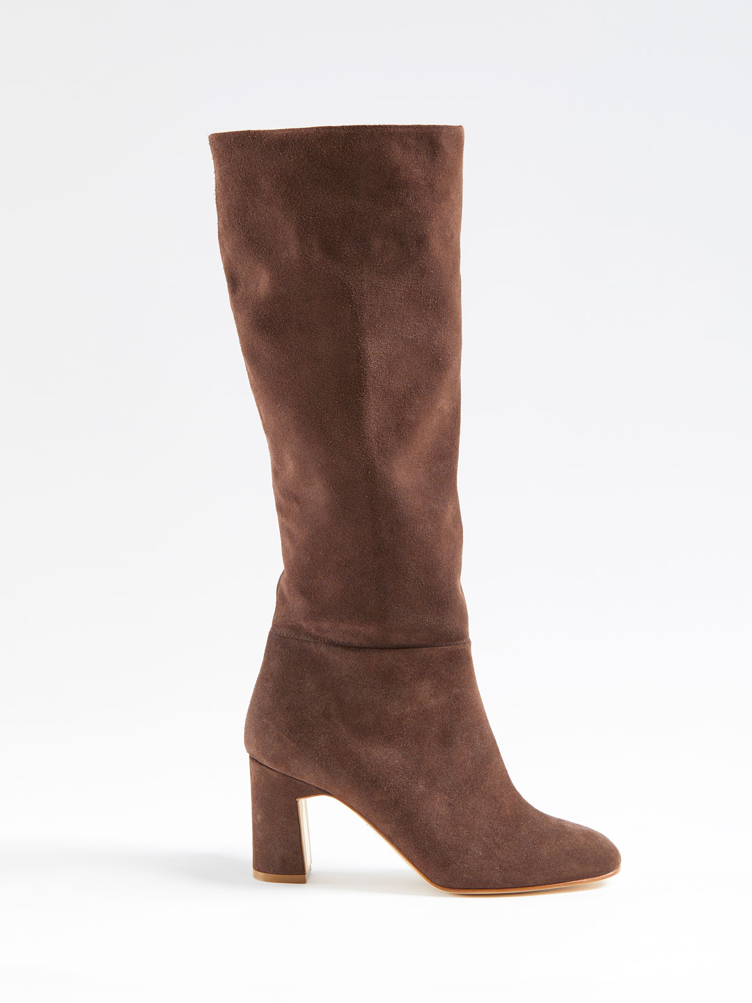 Au Revoir Suede Heel Long Boots - Brown