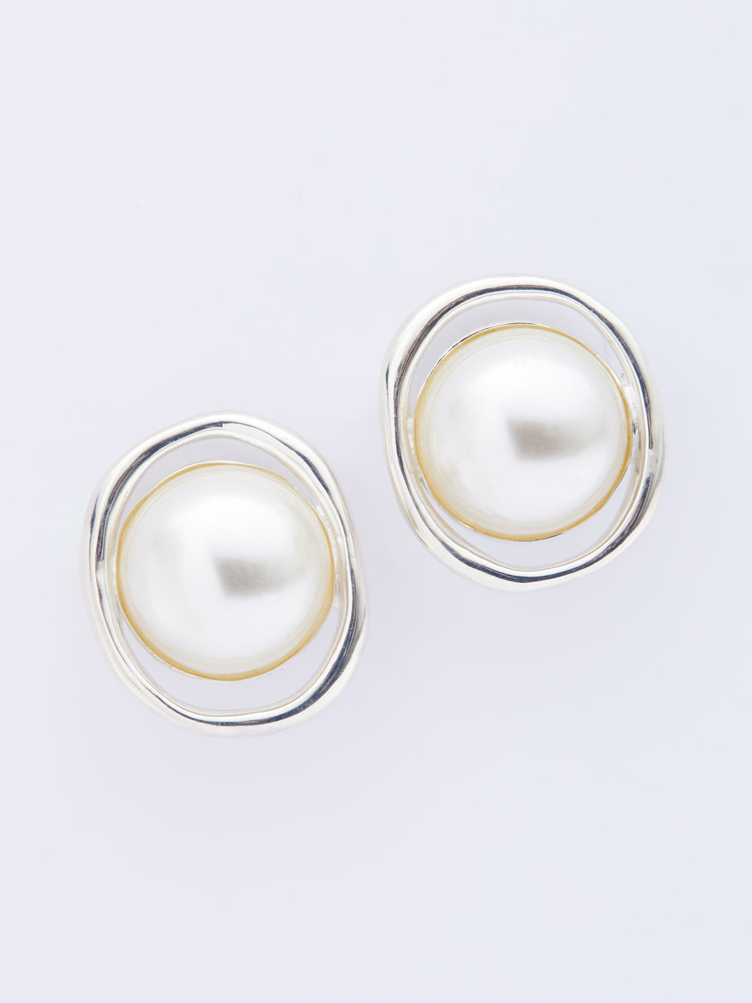 Pearl Orb Clip-On Earrings - Silver