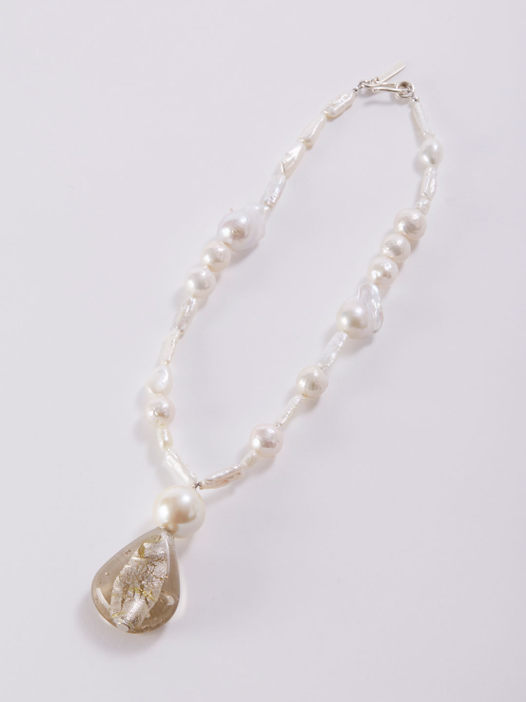 Glass Drop Neacklace   - Silver