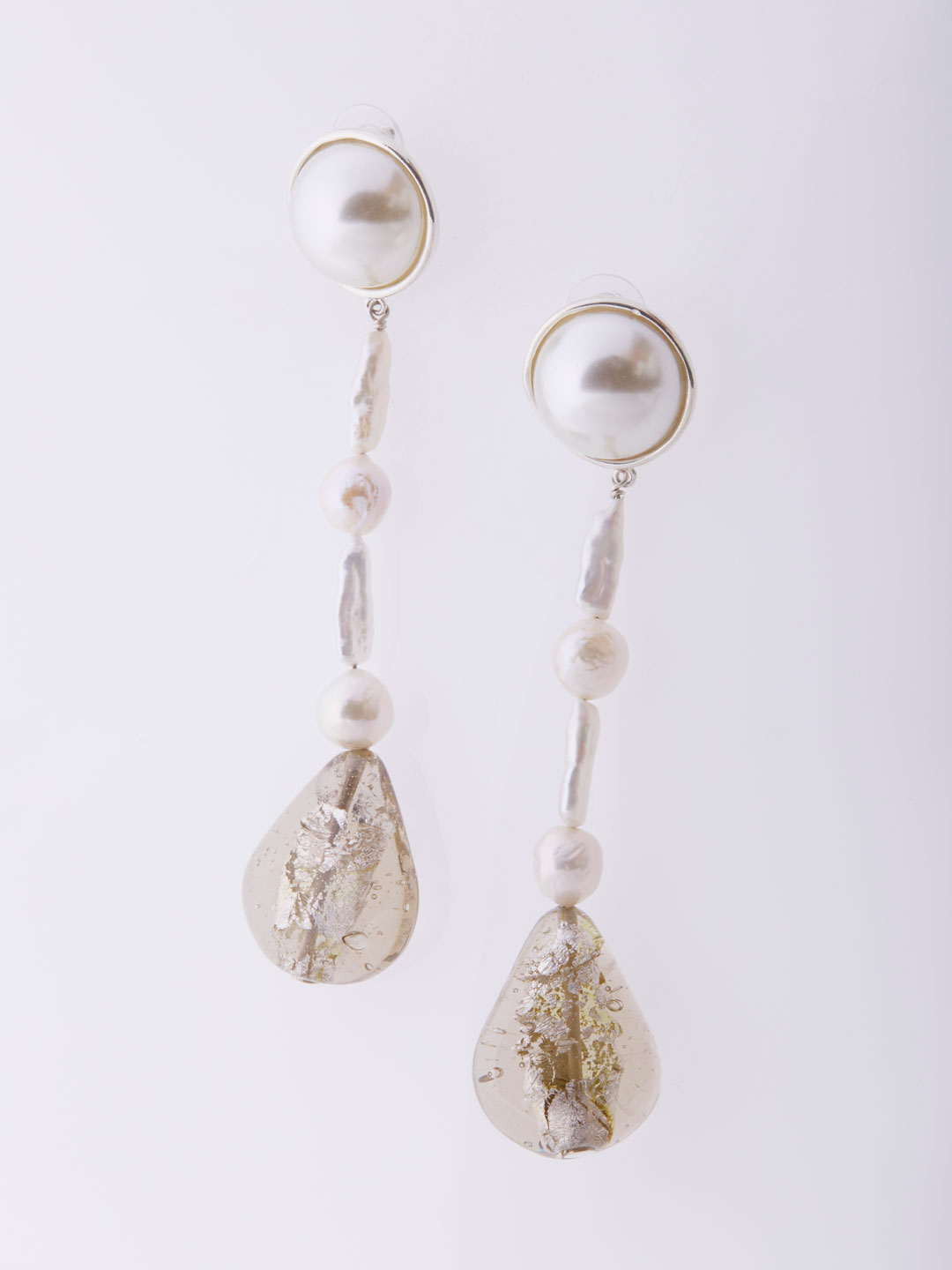 Assemblage Pearl Drop Pierced Earrings Short  - Silver
