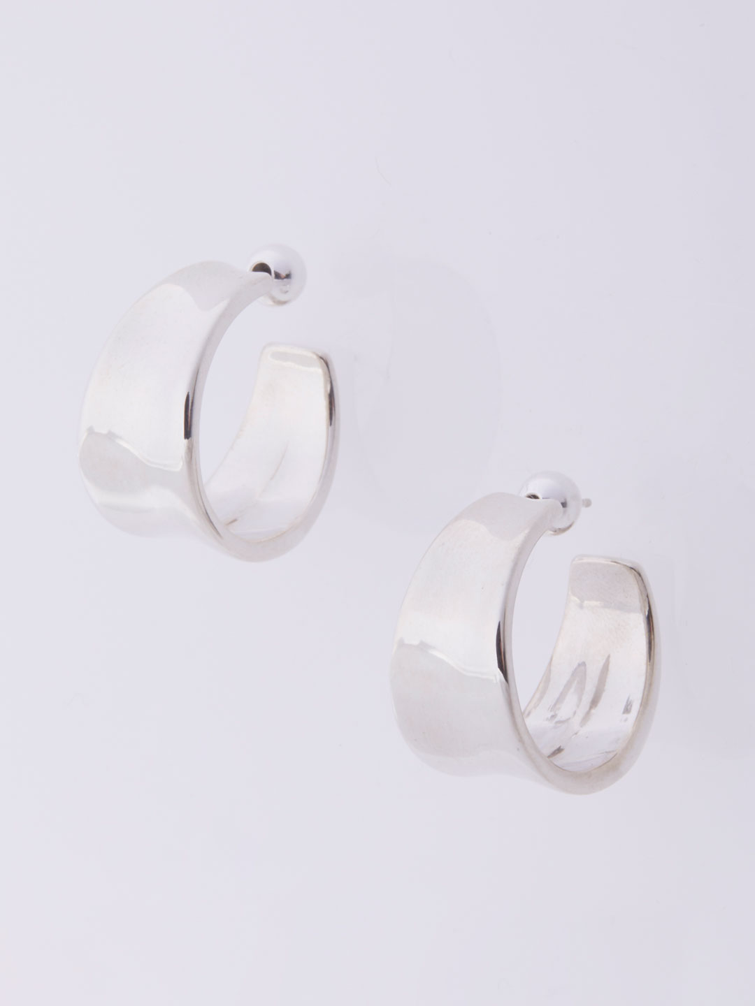 Wave Hoops Pierced Earrings Large  - Silver