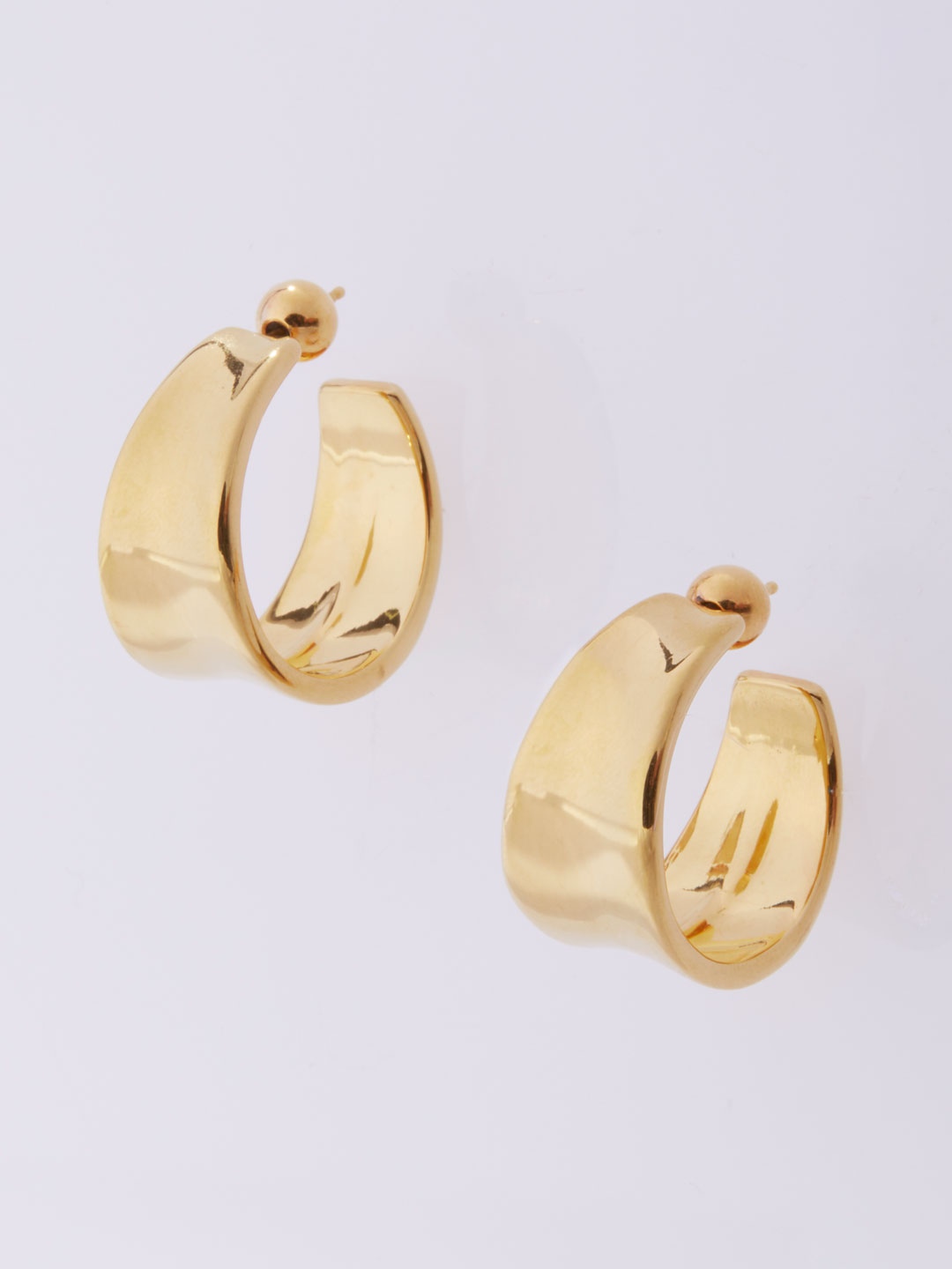 Gold Wave Hoops Pierced Earrings Large  - Gold