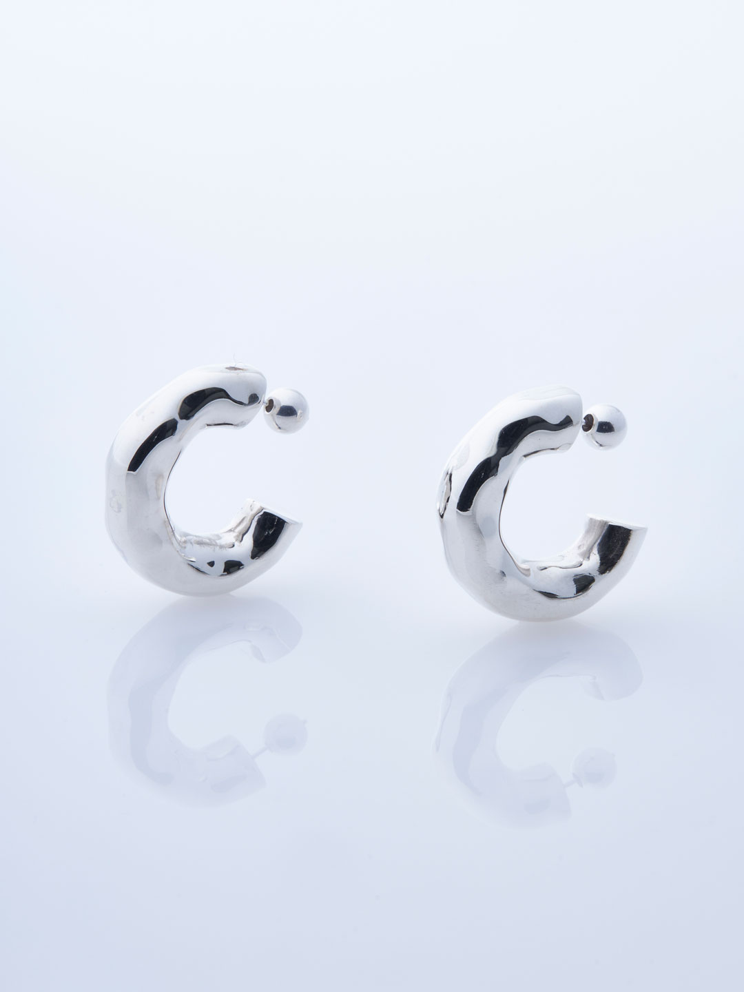 Large Giacometti Pierced Hoops - Silver