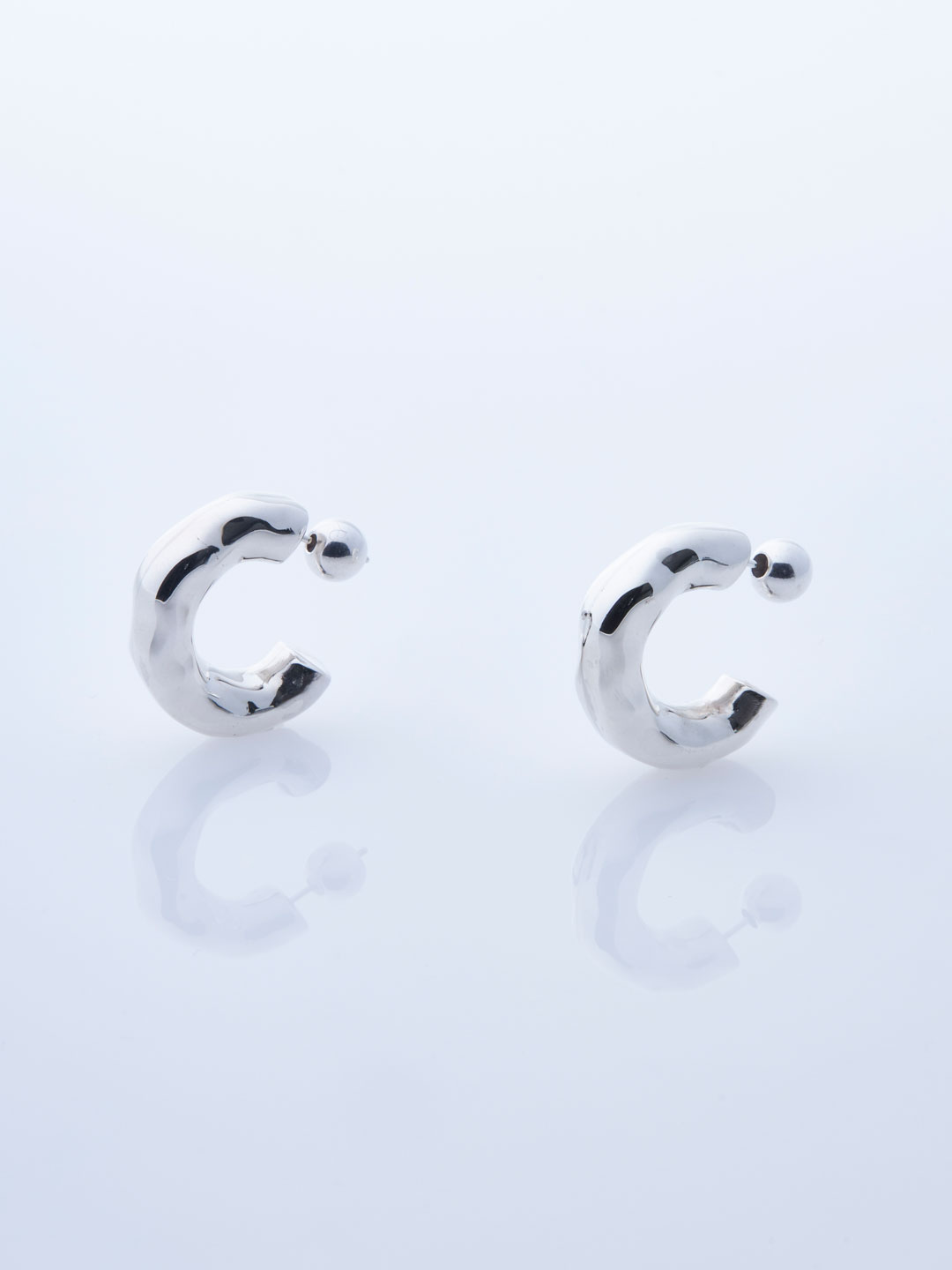 Small Giacometti Pierced Hoops - Silver