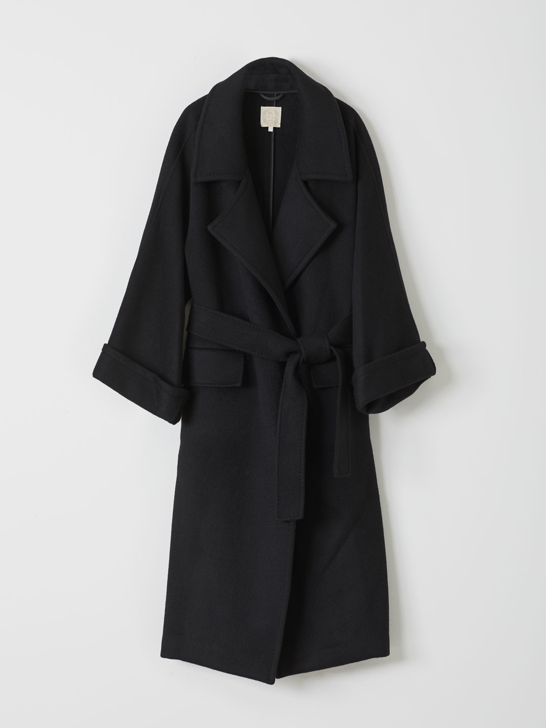 Belted Long Coat - Black