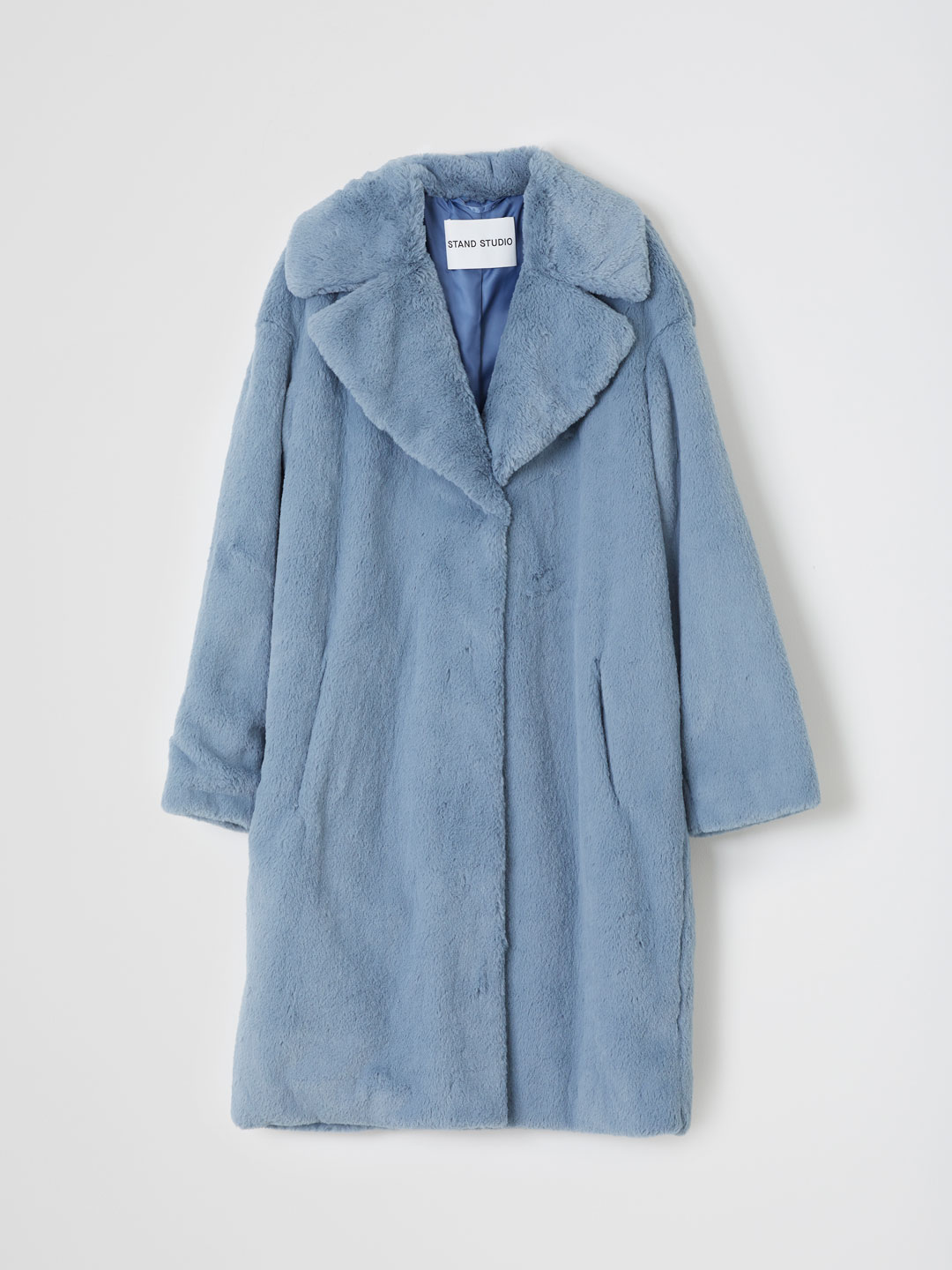 Camille Cocoon Coat Soft Teddy  - Blue