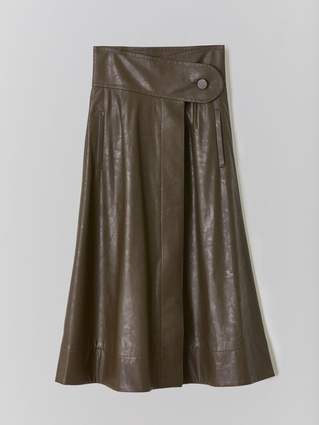High Waisted Skirt  - Brown
