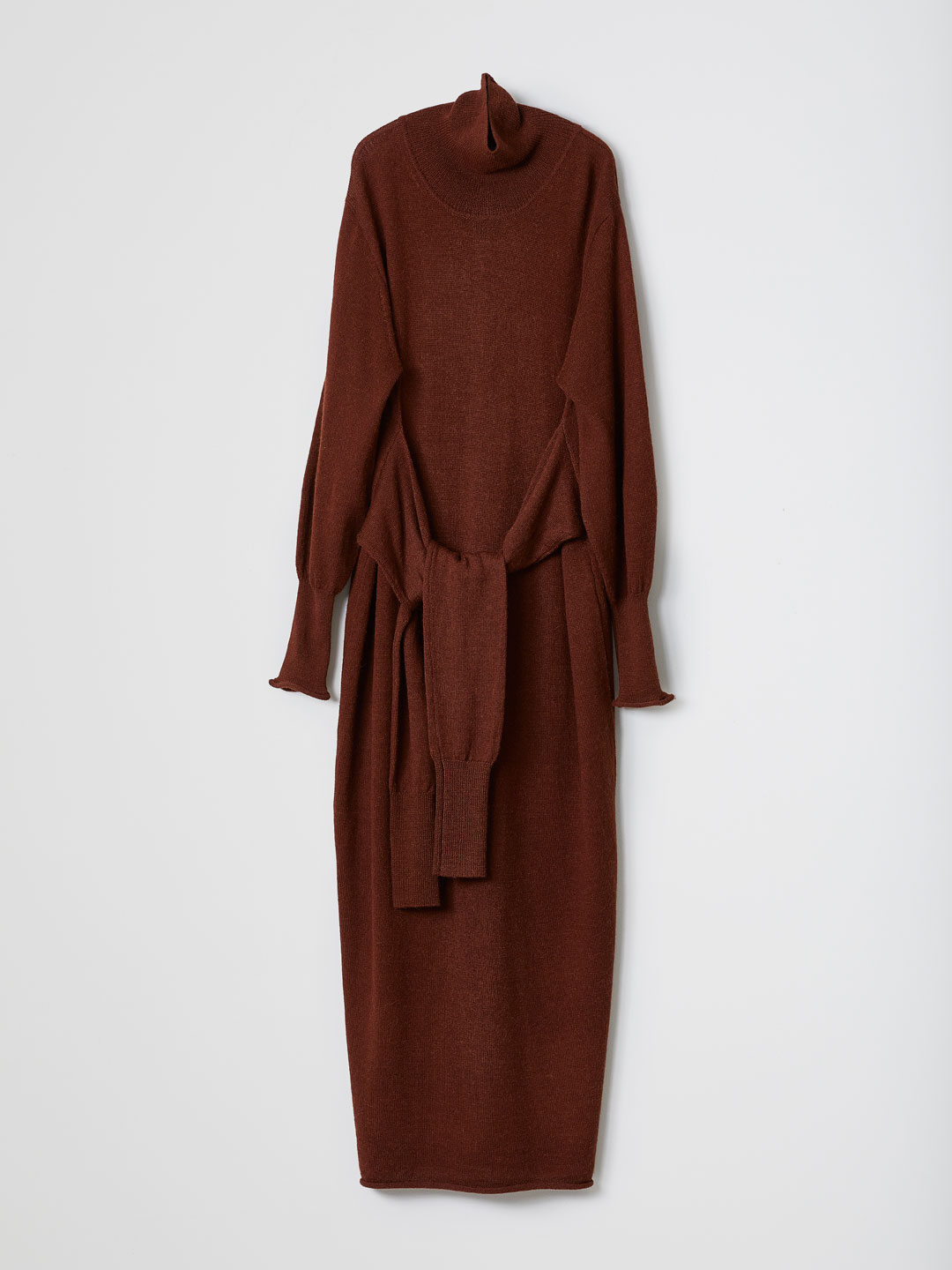 FrontTied Knit Dress - Brown
