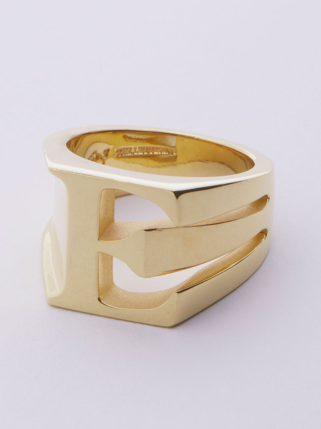 Alphabet Ring E - Gold