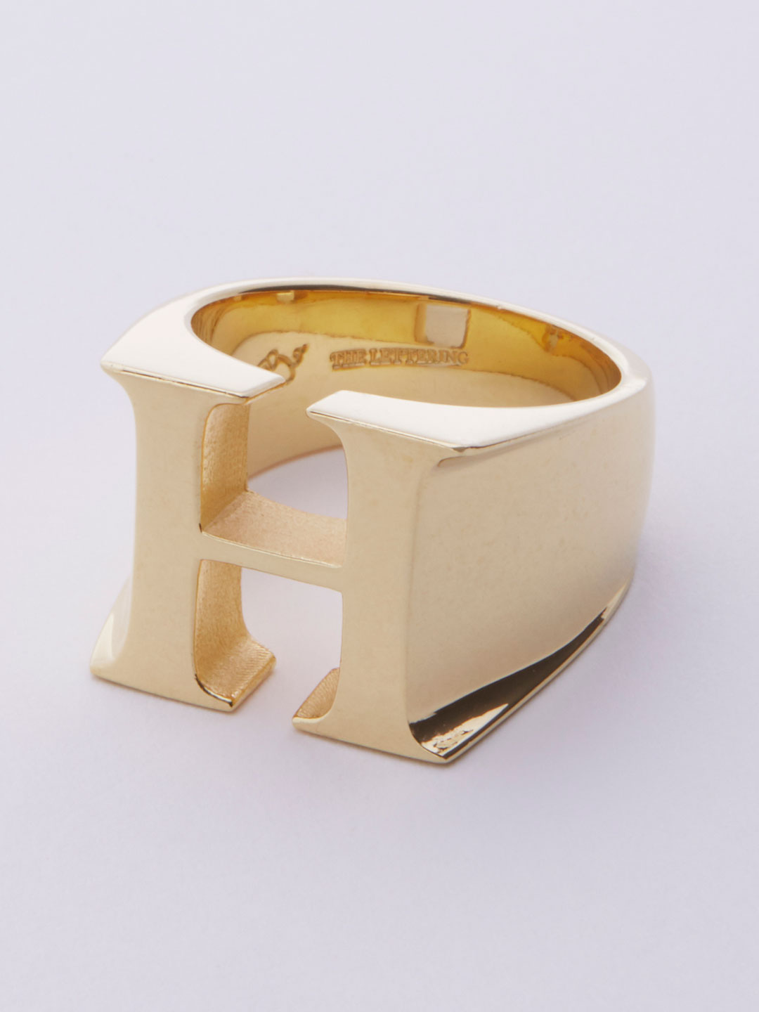 Alphabet Ring H - Gold