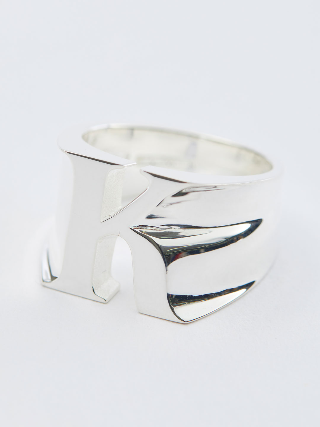 Alphabet Men's Ring K - Silver