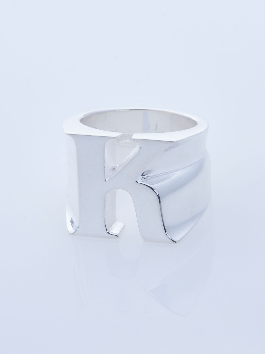 Alphabet Pinky Ring K  - Silver