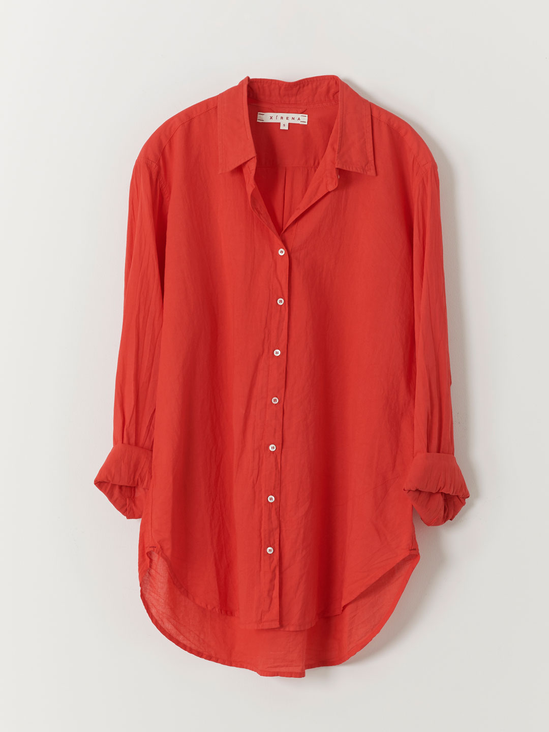 Beau Cotton Poplin Shirt - Red