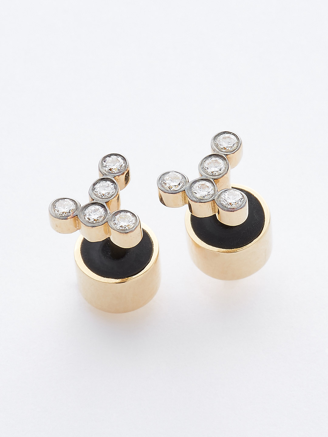 Diamond Pierced Earring - 18K Yellow Gold