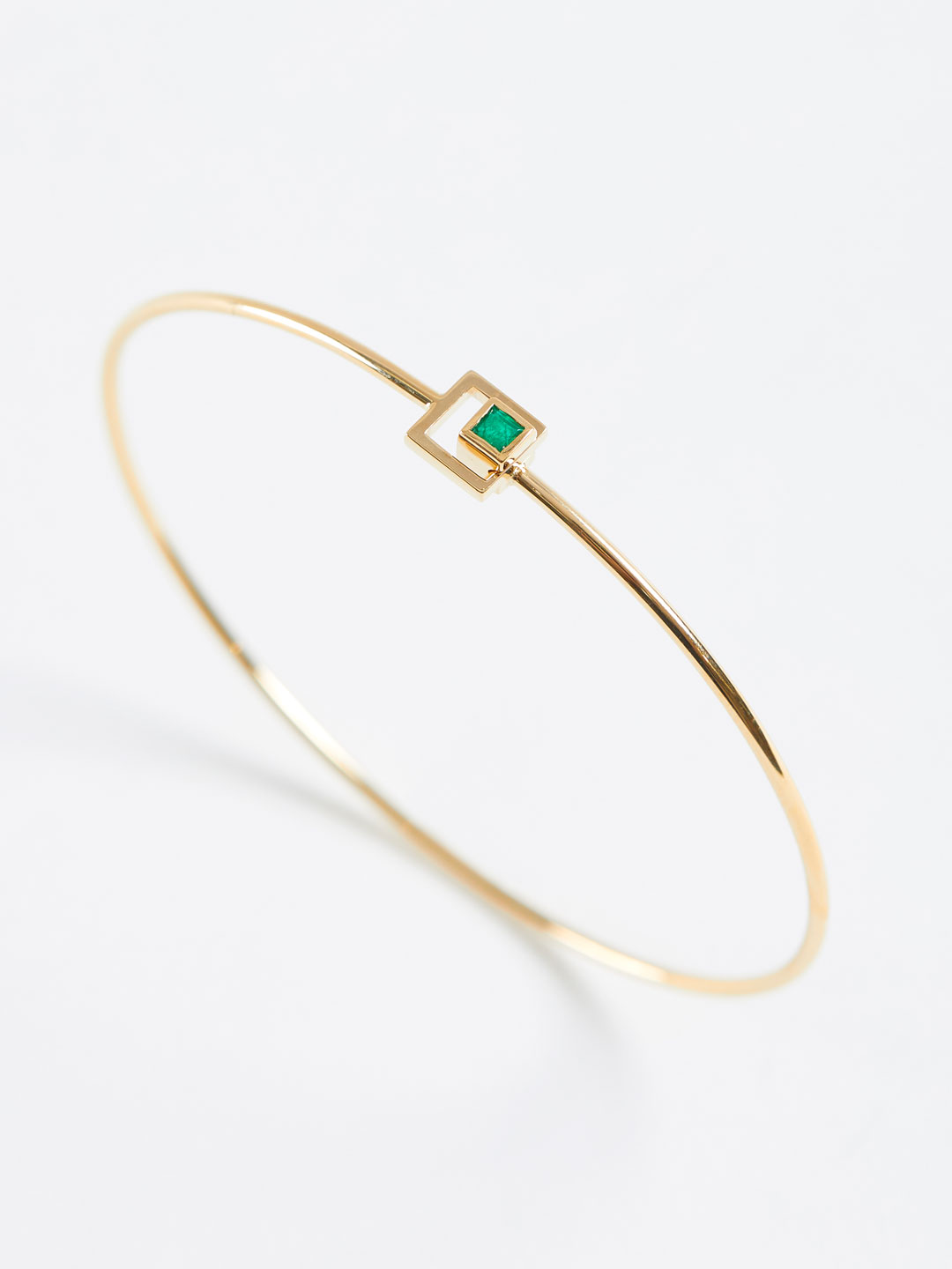 Emerald Square Motif Bracelet - Yellow Gold
