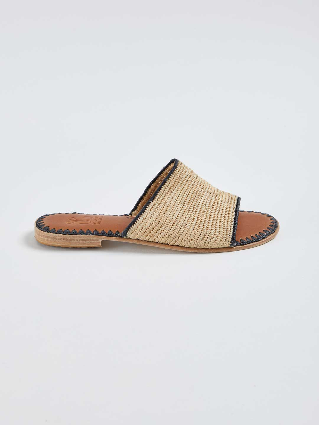 ROSALIE Hand Woven Flat Sandals - Natural