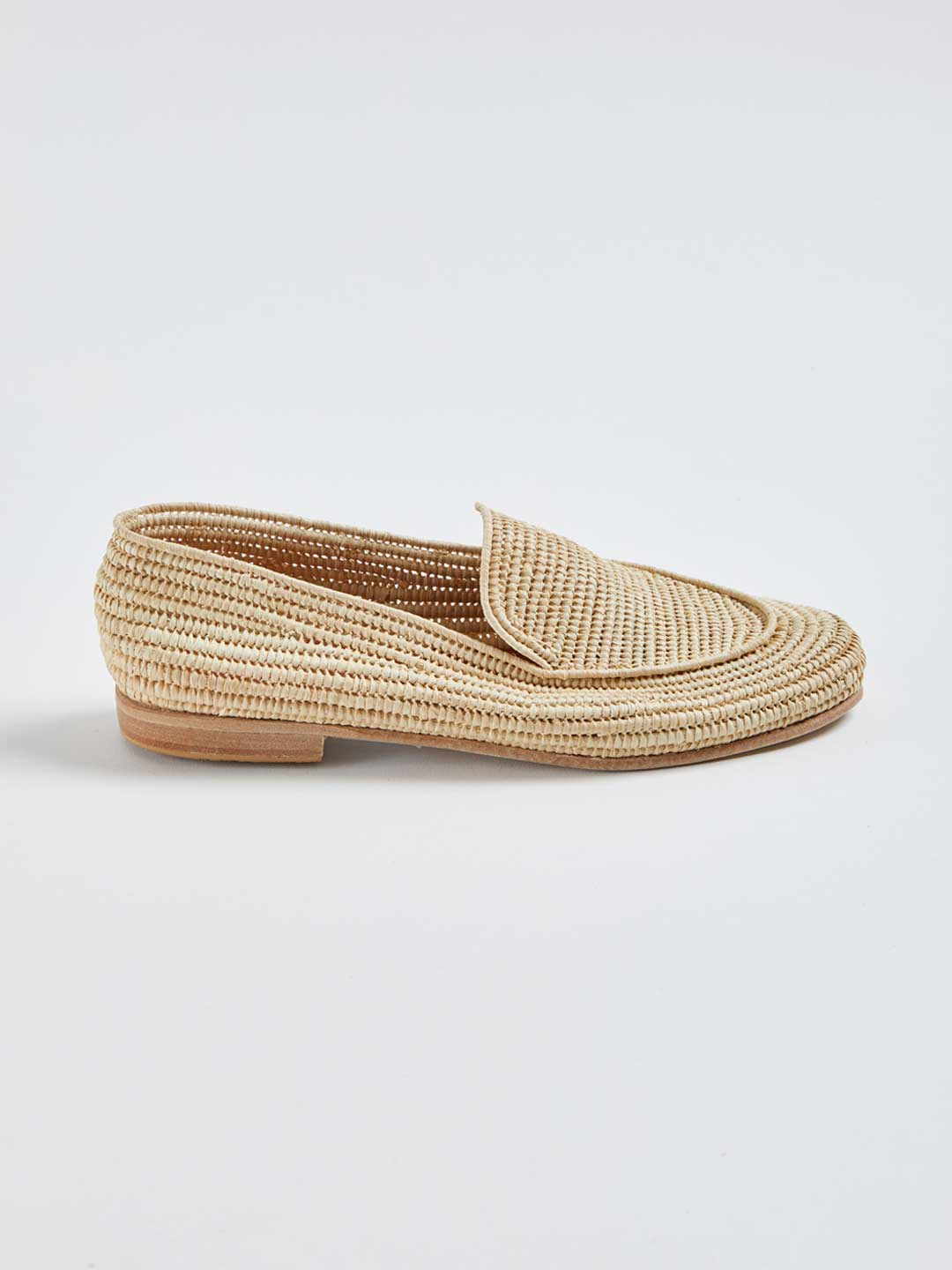 MARCELLE Hand Woven Raffia Loafers - Natural
