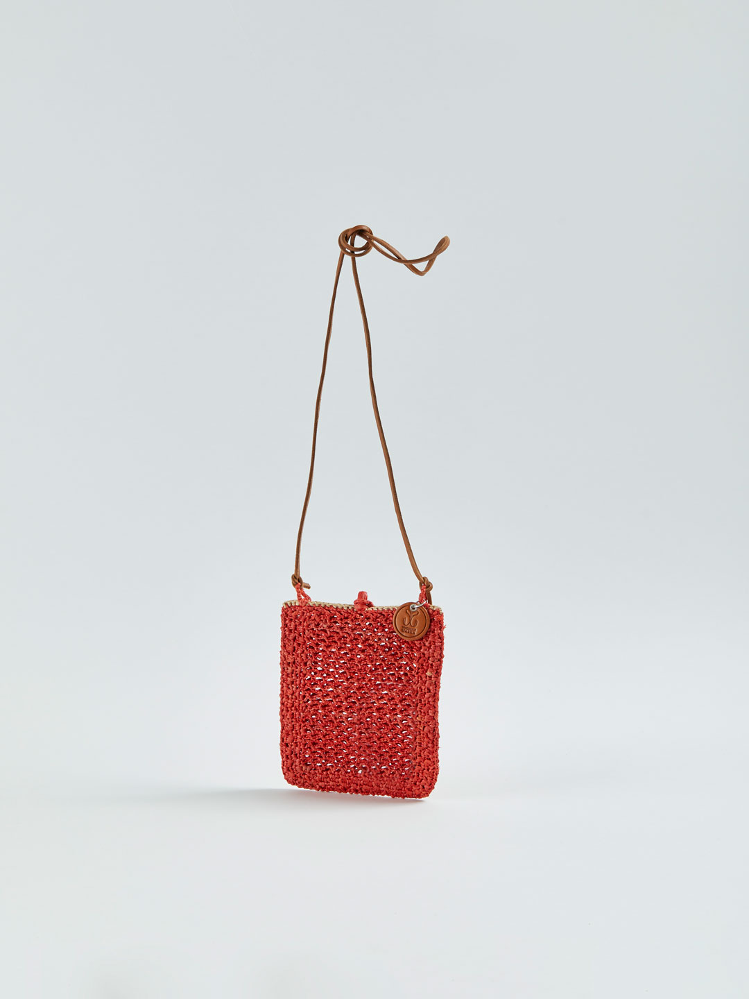 MINIE Small Raffia Shoulder Bag - Orange