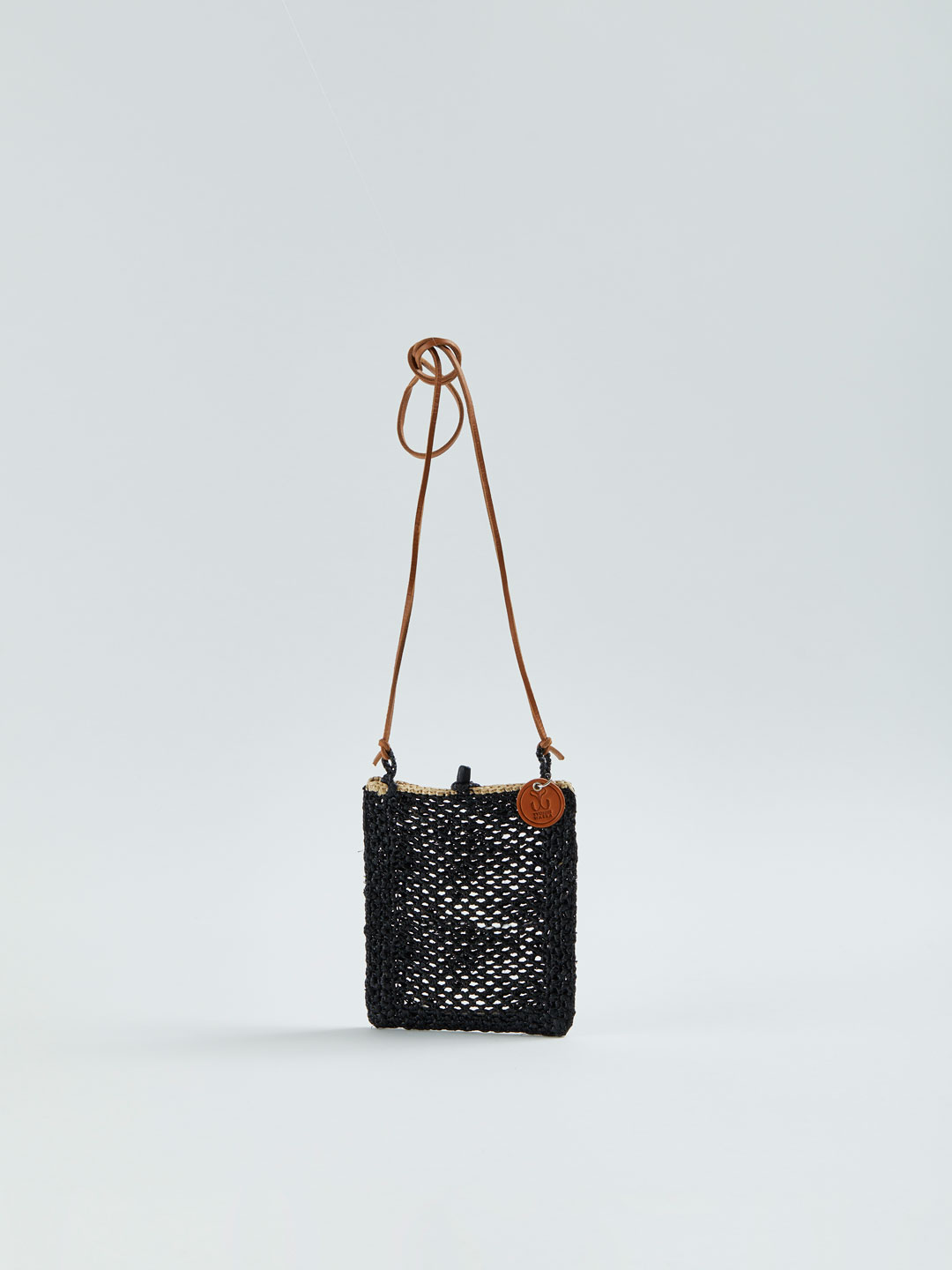 MINIE Small Raffia Shoulder Bag - Black