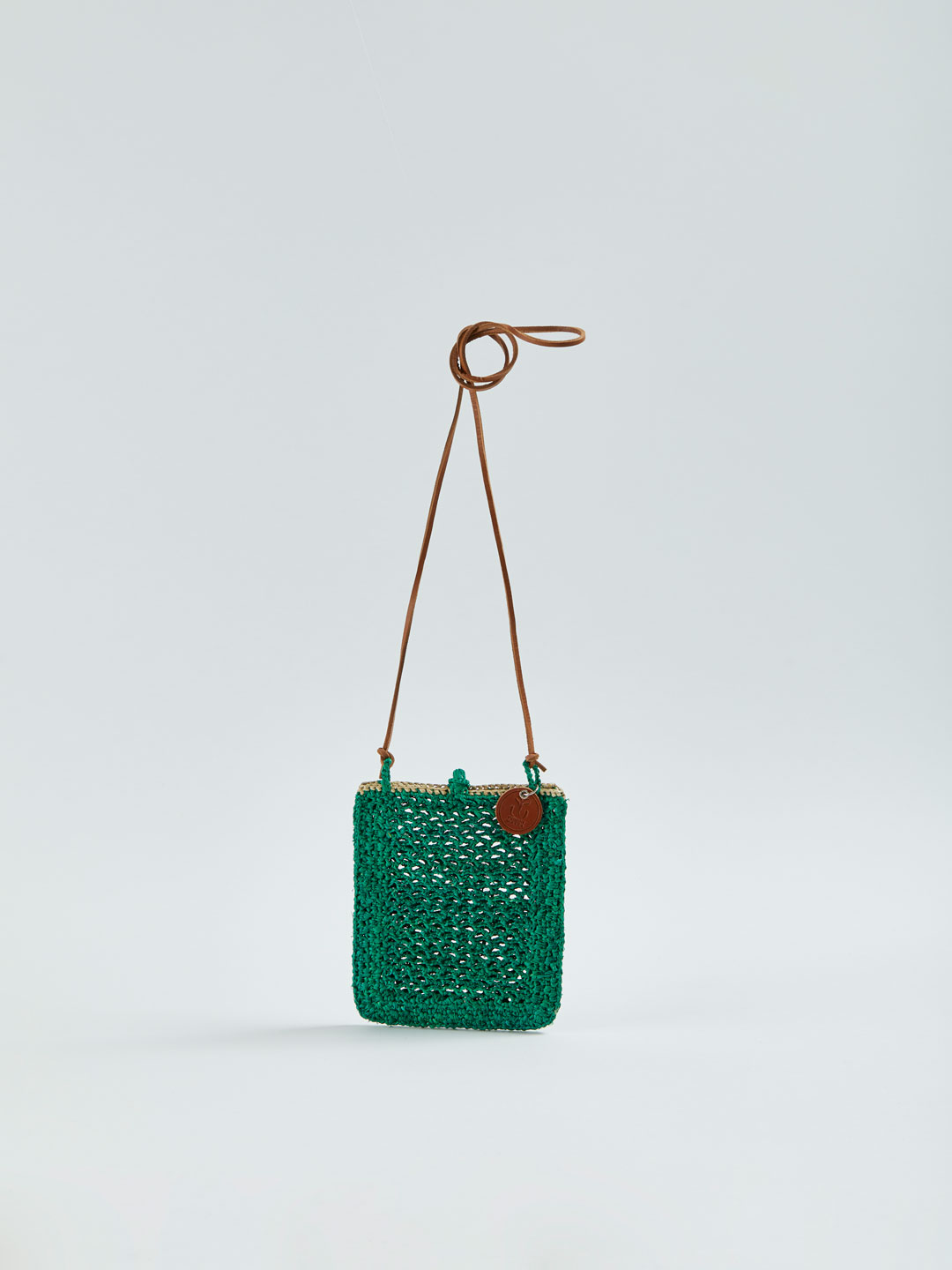 MINIE Small Raffia Shoulder Bag - Green