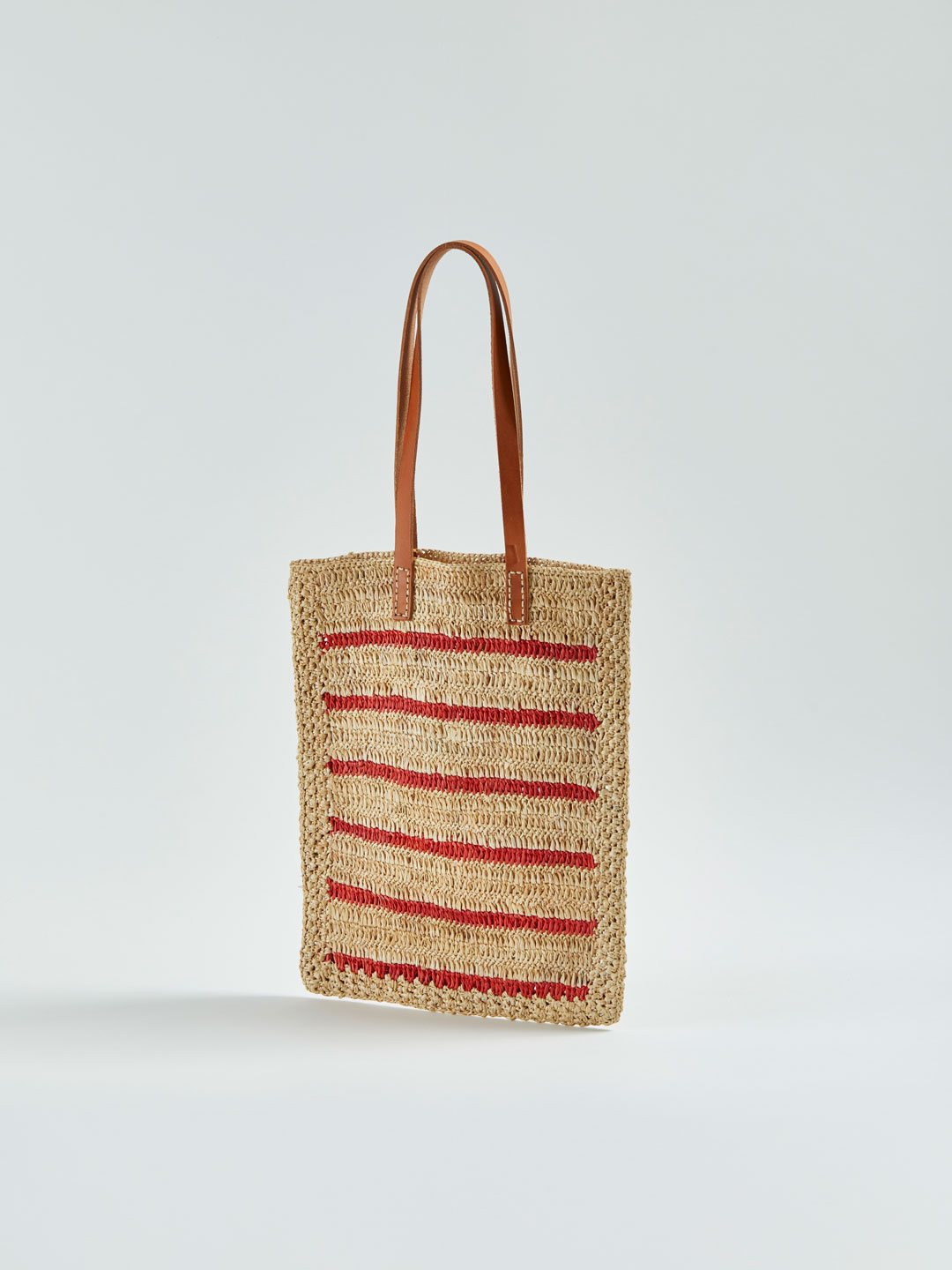 ALFRED Stripy Raffia Tote Bag - Orange