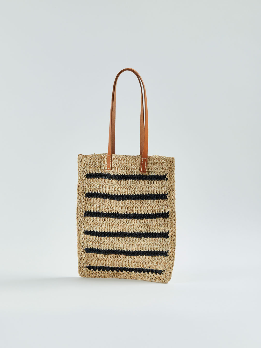 ALFRED Stripy Raffia Tote Bag - Black